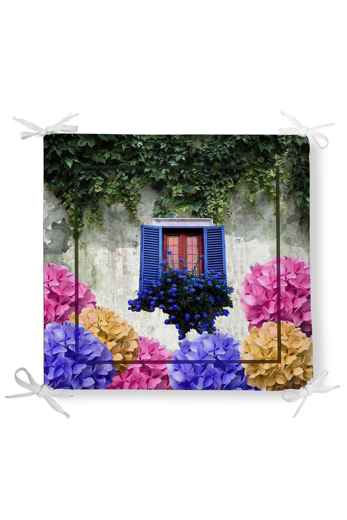 Çiçek Penceresi Dekorati Kare Sandalye Minderi Realhomes