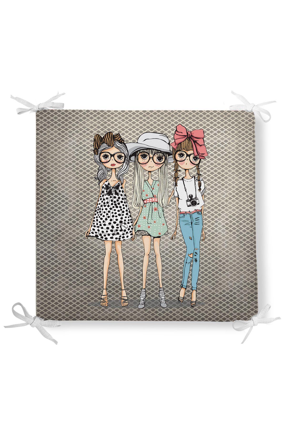 ashion Girls Dekorati Kare Sandalye Minderi 40x40cm ermuarlı Realhomes