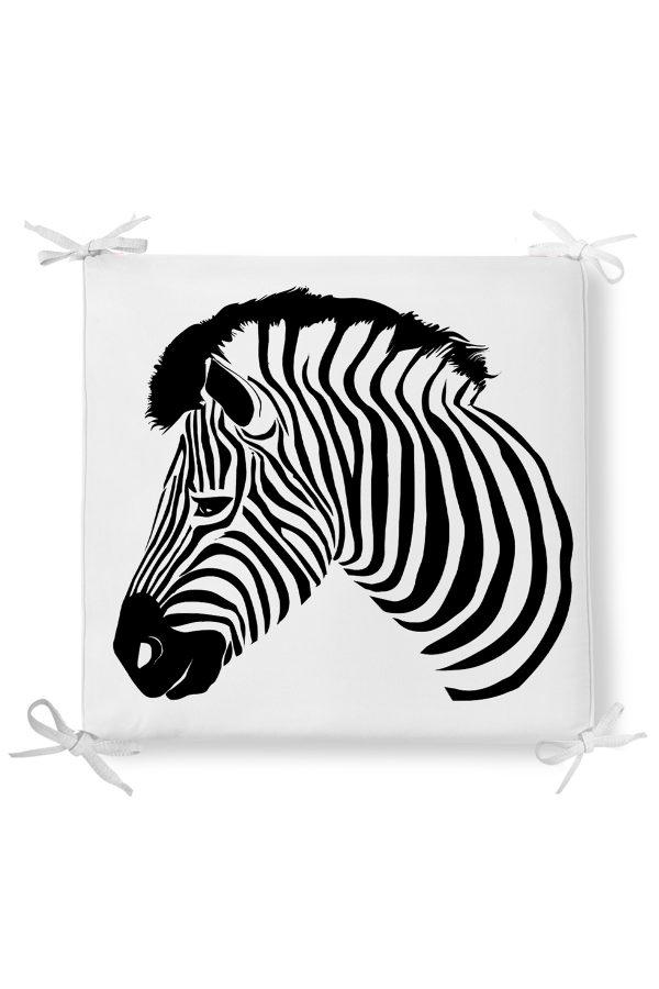 Zebra Desen Dekorati Kare Sandalye Minderi 40x40cm ermuarlı Realhomes