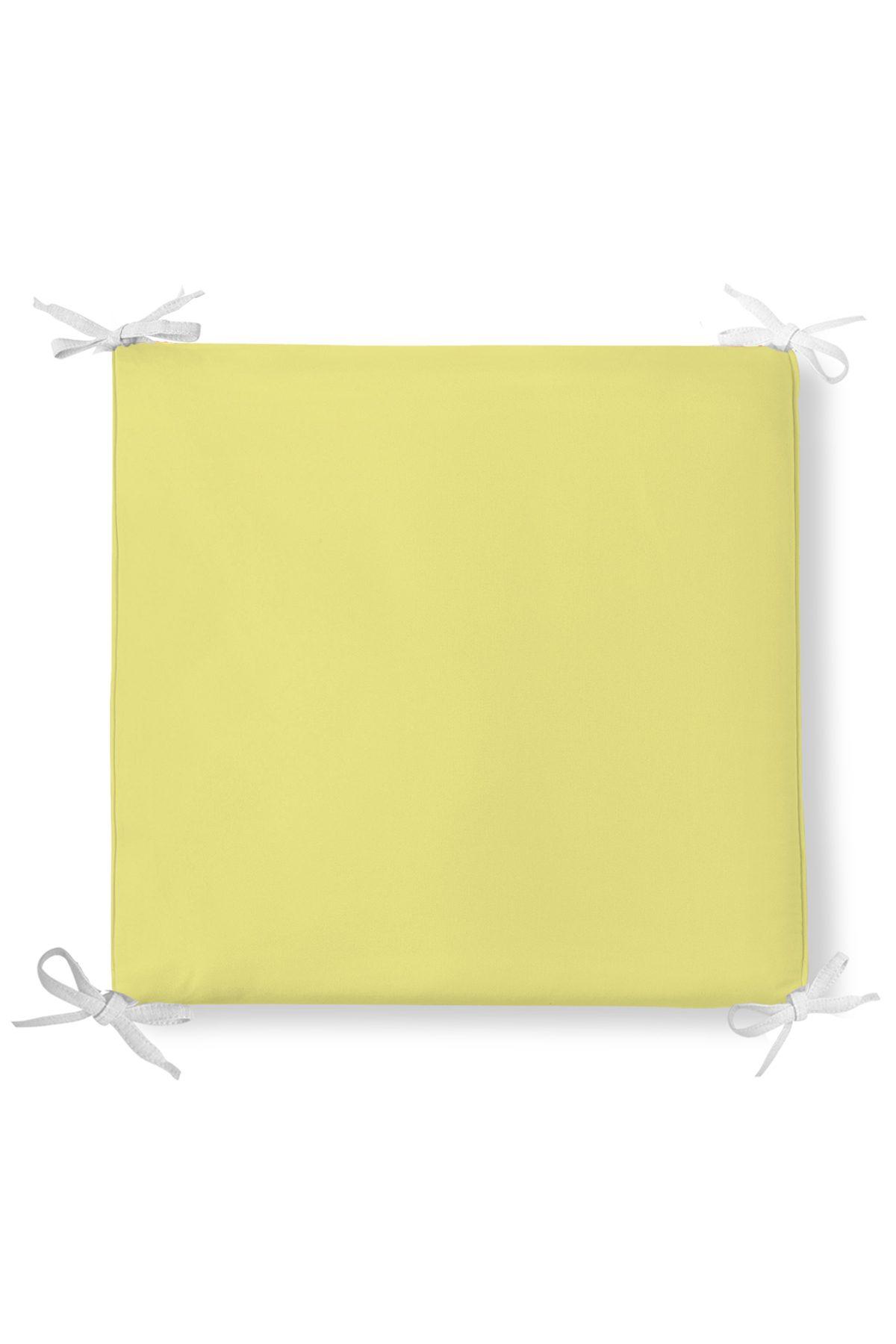Sarı Renkli Dekorati Kare Sandalye Minderi 40x40cm ermuarlı Realhomes