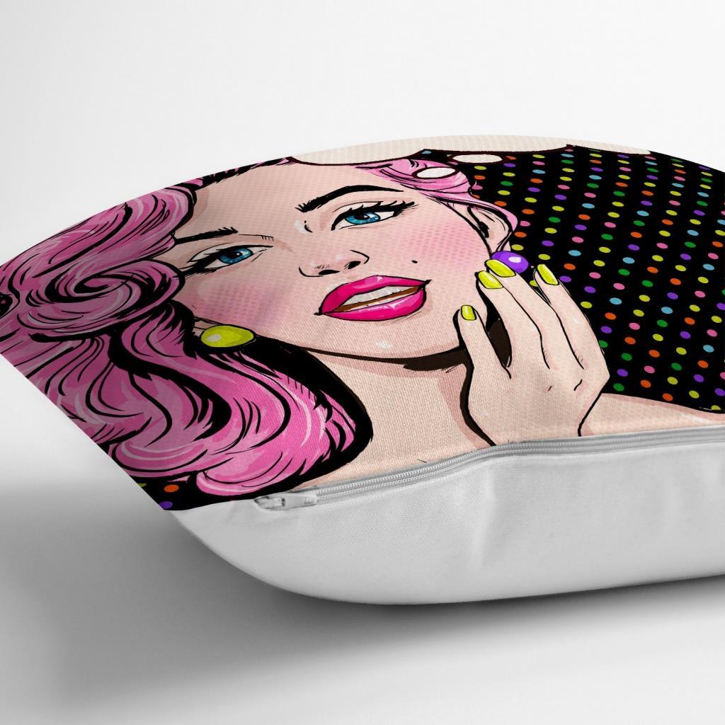 Pop Art Retro Dijital Baskılı Dekoratif Yastık Kırlent Kılıfı Realhomes
