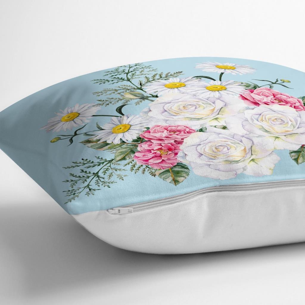 Çiçek Desenli Dijital Baskılı Dekoratif Yastık Kırlent Kılıfı Realhomes