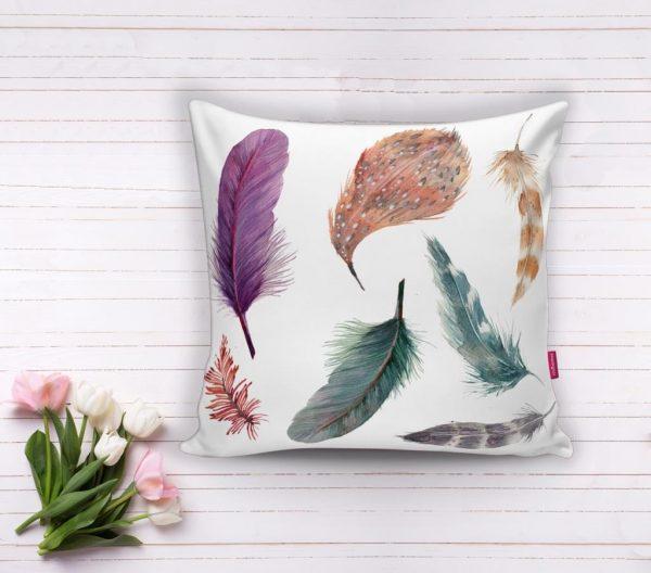 Kuş Tüyü Resimli Dijital Baskılı Dekoratif Yastık Kırlent Kılıfı Realhomes