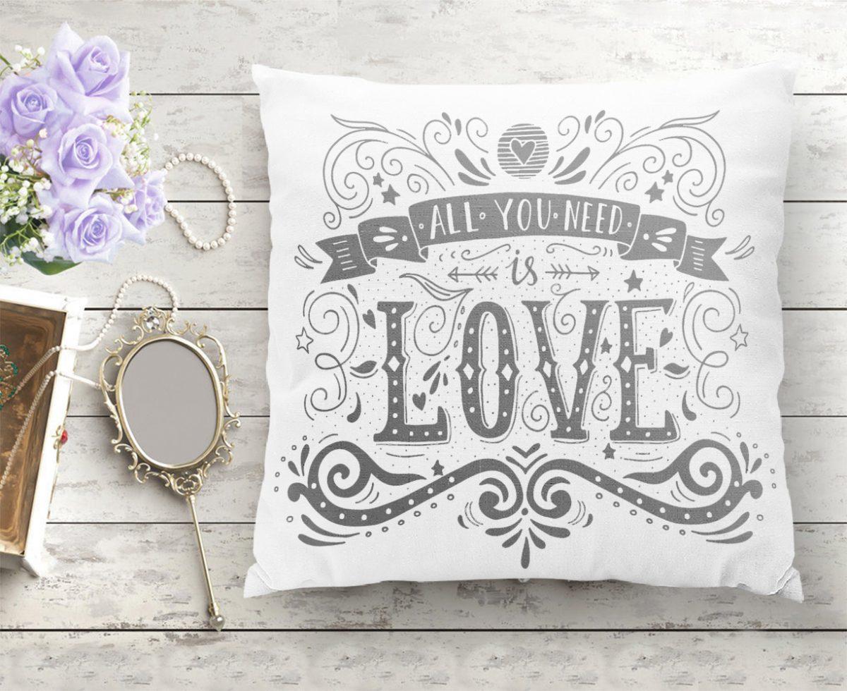 Love Yazılı Dijital Baskı Dekoratif Yastık Kırlent Kılıfı Realhomes