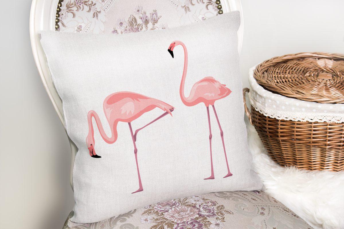 Pembe Flamingo Desenli Dijital Baskılı Yastık Kırlent Kılıfı Realhomes