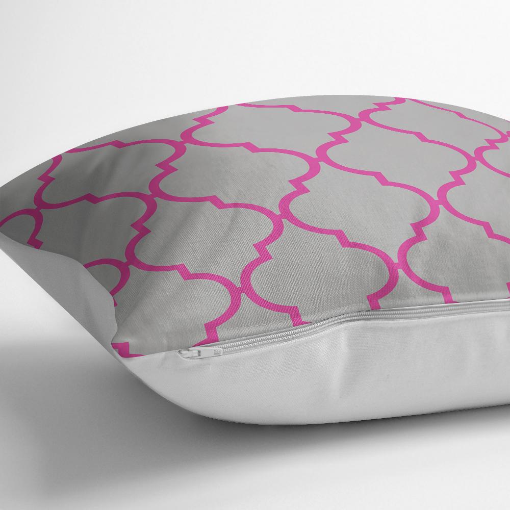 Gri Zemin Ogea Desenli Modern Dijital Yastık Kırlent Kılıfı Realhomes