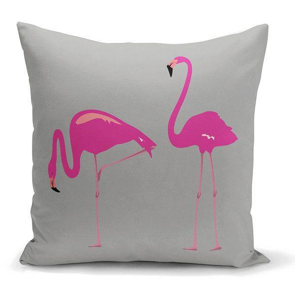 Gri Zemin Flamingo Desenli Dijital Yastık Kırlent Kılıfı Realhomes