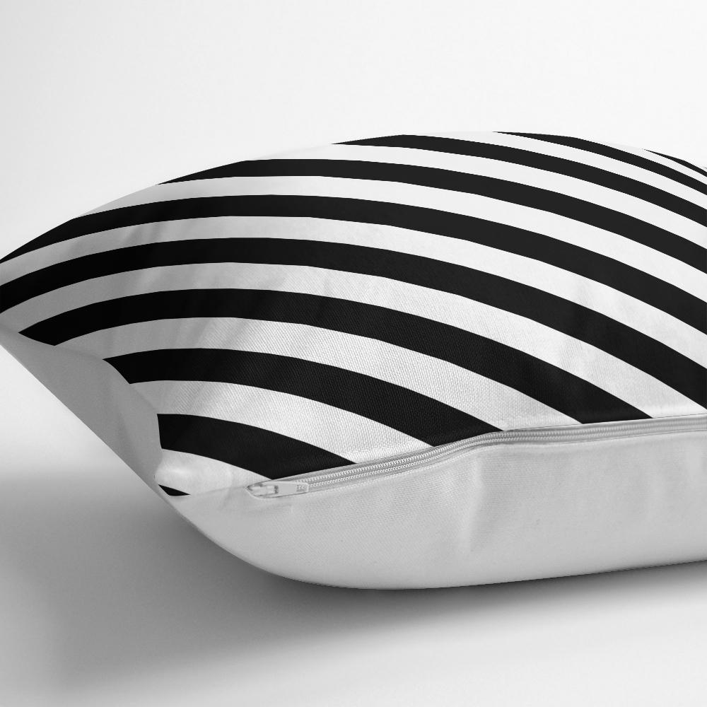 Siyah Beyaz Şeritli Dijital Baskılı Yastık Kırlent Kılıfı Realhomes