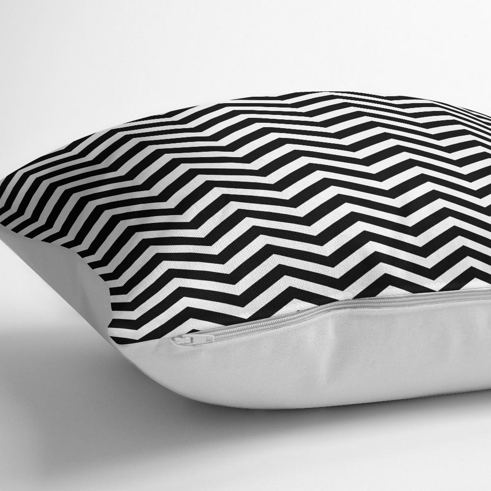 Siyah Beyaz Zigzag Desenli Dijital Baskılı Yastık Kırlent Kılıfı Realhomes