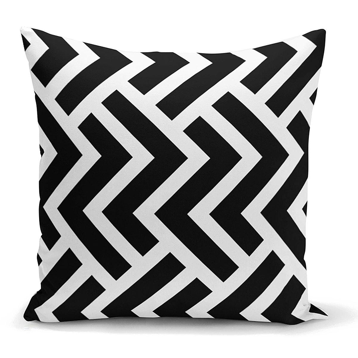 Siyah Beyaz Geometrik Desenli Dijital Yastık Kırlent Kılıfı Realhomes