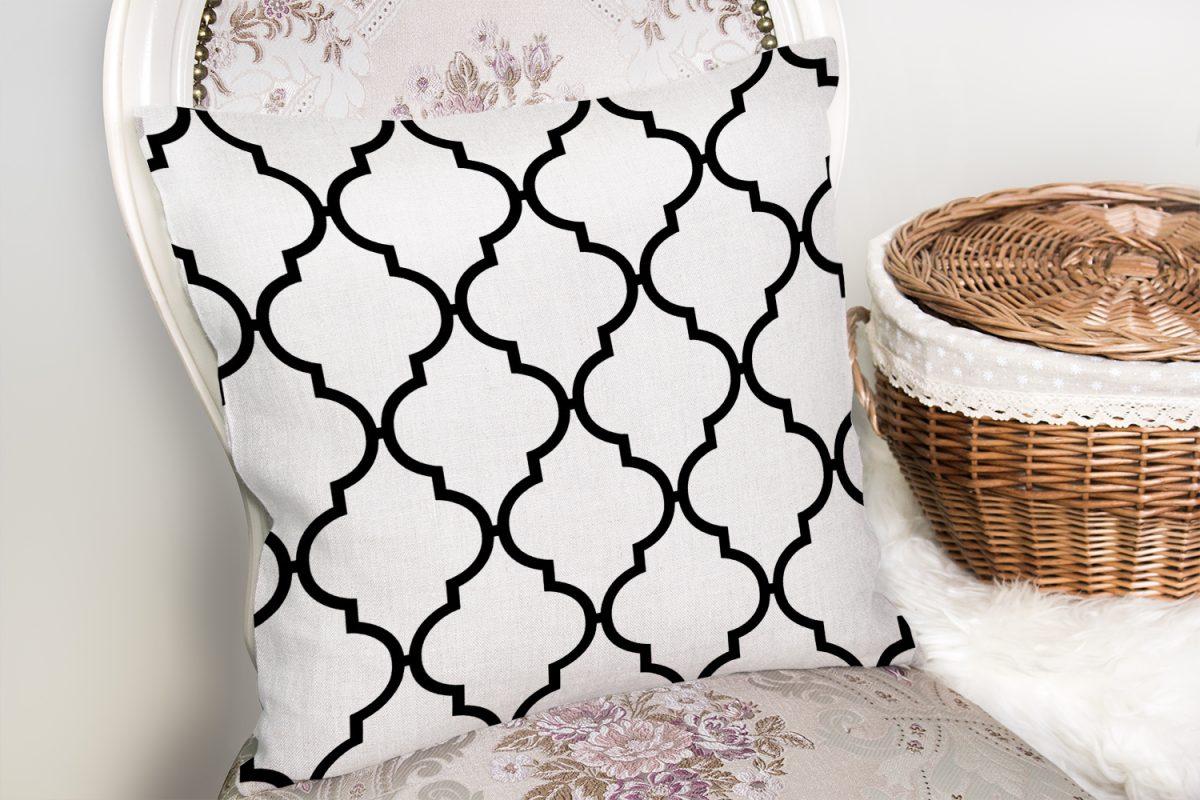 Siyah Beyaz Ogea Desenli Dekoratif Yastık Kırlent Kılıfı Realhomes