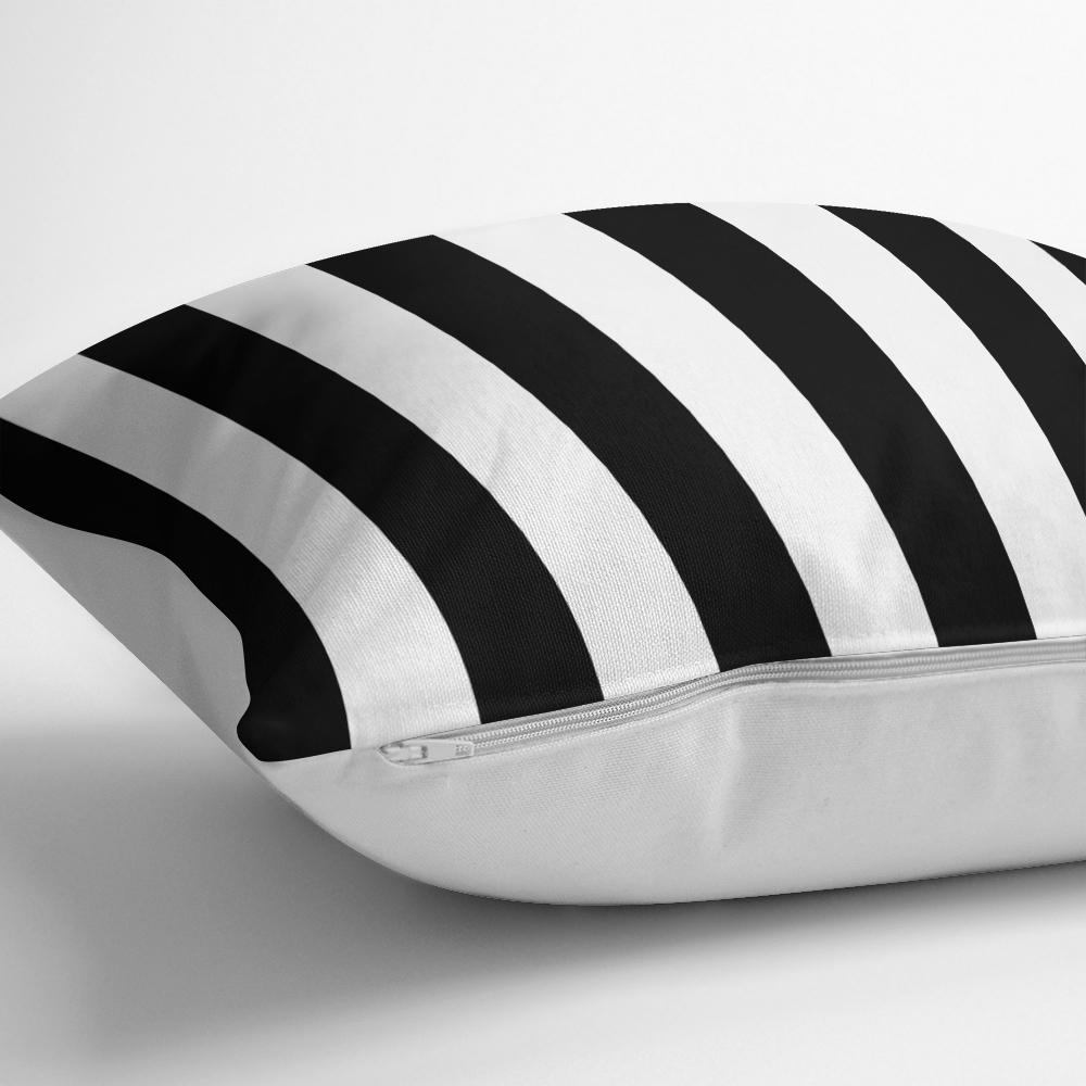 Siyah Beyaz Çizgili Dekoratif Yastık Kırlent Kılıfı Realhomes