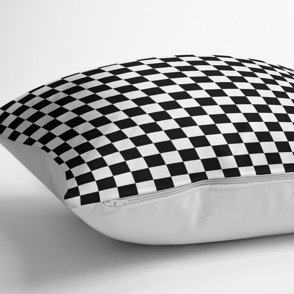 Siyah Beyaz Ekose Desenli Dekoratif Yastık Kırlent Kılıfı Realhomes
