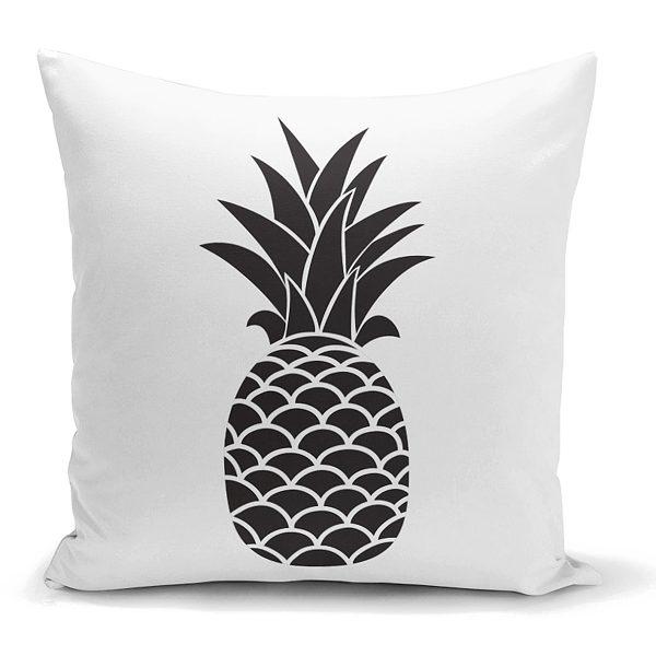 Siyah Beyaz Ananas Baskılı Dekoratif Yastık Kırlent Kılıfı Realhomes