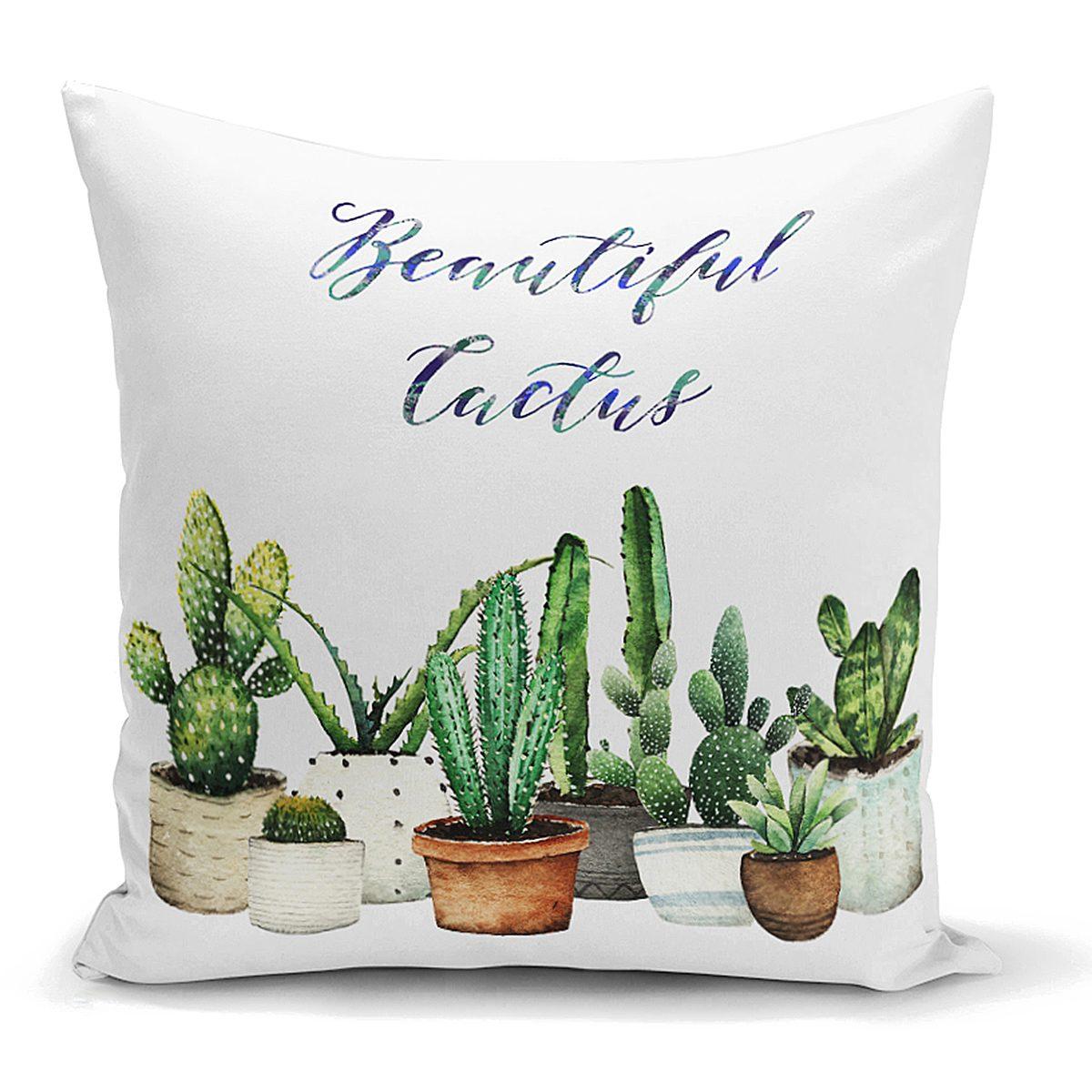 Beatiful Cactus Baskılı Dijital Yastık Kırlent Kılıfı Realhomes