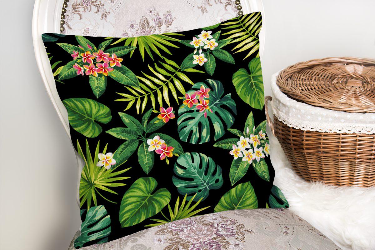 Siyah Zemin Yapraklar Özel Tasarım Yastık Kırlent Kılıfı Realhomes