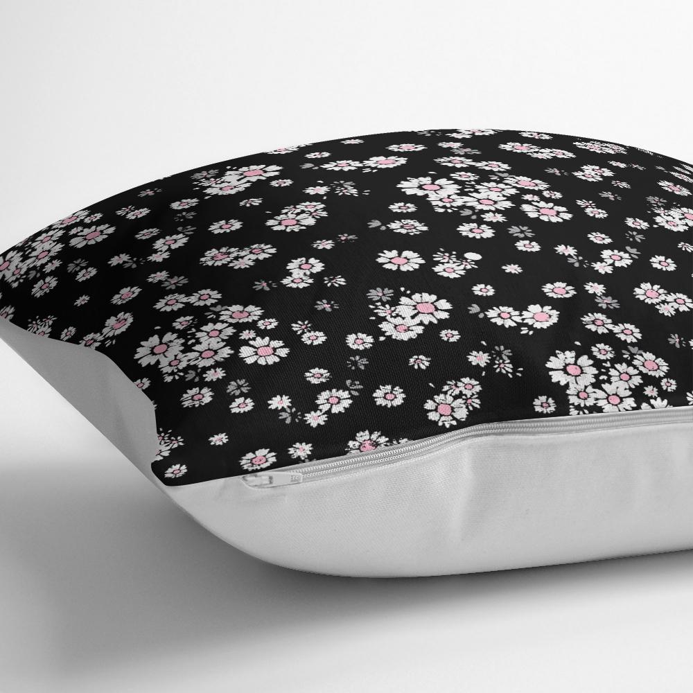 Siyah Zeminde Beyaz Çiçekler Dijital Baskılı Yastık Kırlent Kılıfı Realhomes