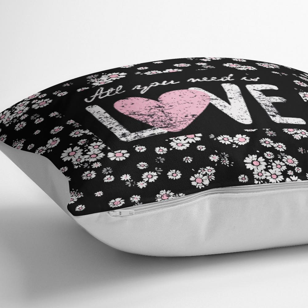 Beyaz Çiçekler Love Desenli Dekoratif Yastık Kırlent Kılıfı Realhomes