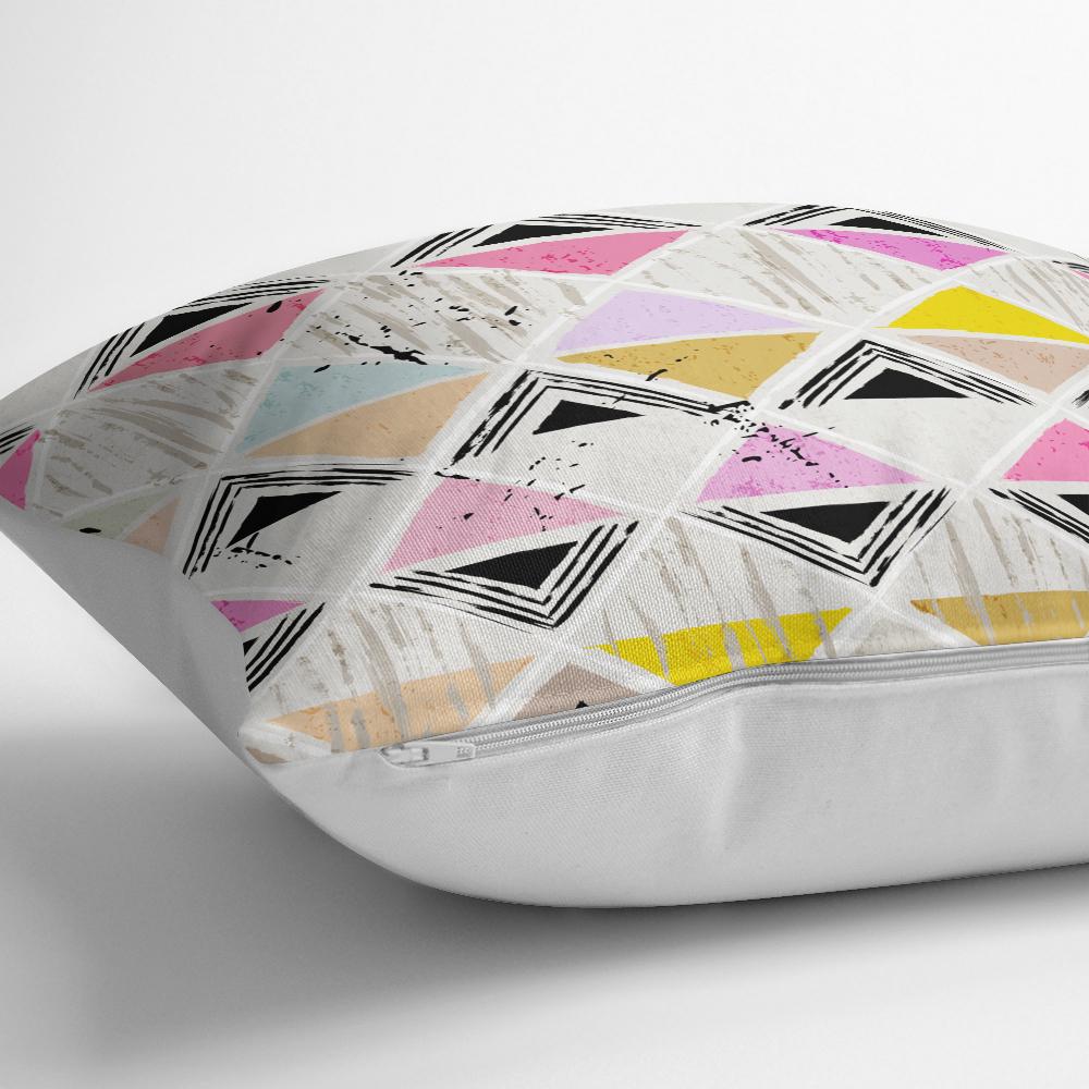 Renkli Kareler Özel Tasarım Dijital Baskılı Yastık Kırlent Kılıfı Realhomes