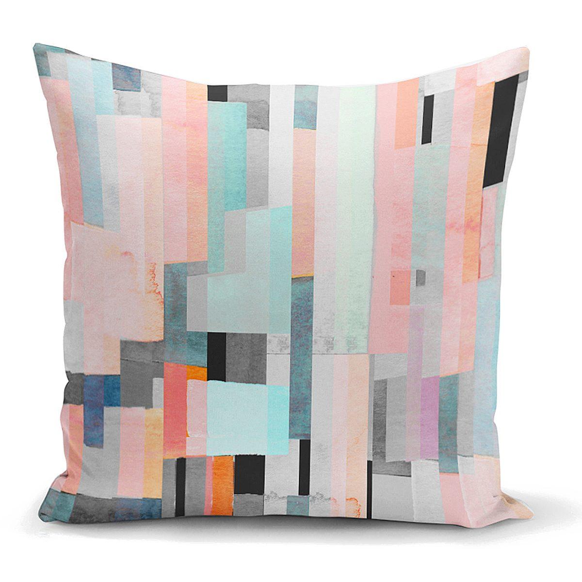 Renkli Boyama Dijital Baskılı Modern Yastık Kırlent Kılıfı Realhomes