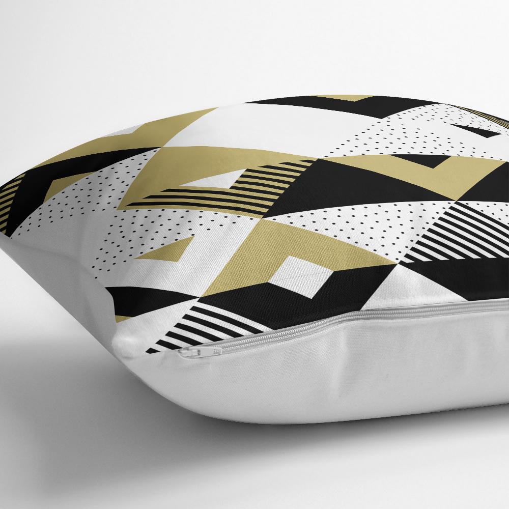 Bej Siyah Geometrik Desenli Dijital Baskılı Yastık Kırlent Kılıfı Realhomes