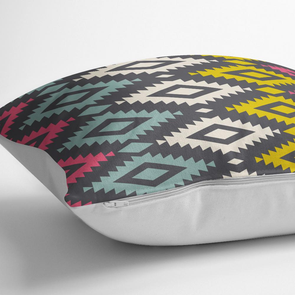 Renkli Geometrik Desenli Dijital Baskılı Yastık Kırlent Kılıfı Realhomes
