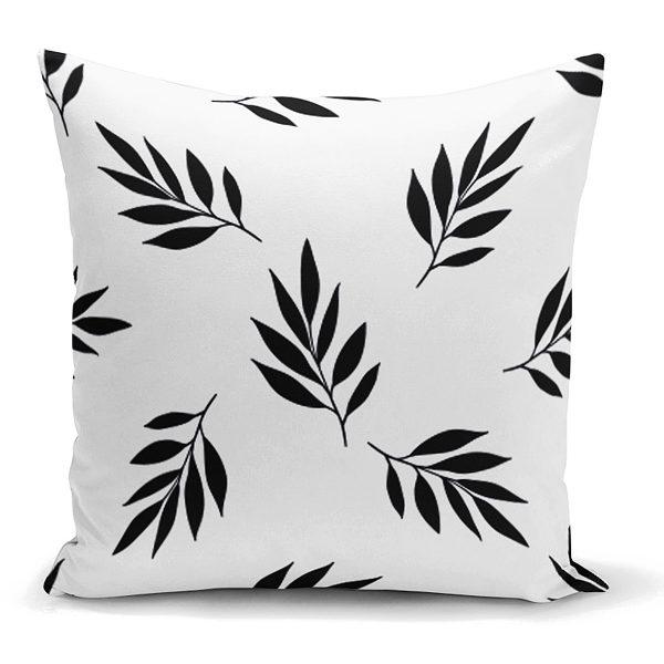 Siyah Beyaz Yaprak Desenli Dekoratif Yastık Kırlent Kılıfı Realhomes