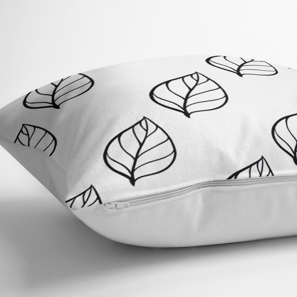 Siyah Beyaz Yaprak Motifli Modern Yastık Kırlent Kılıfı Realhomes