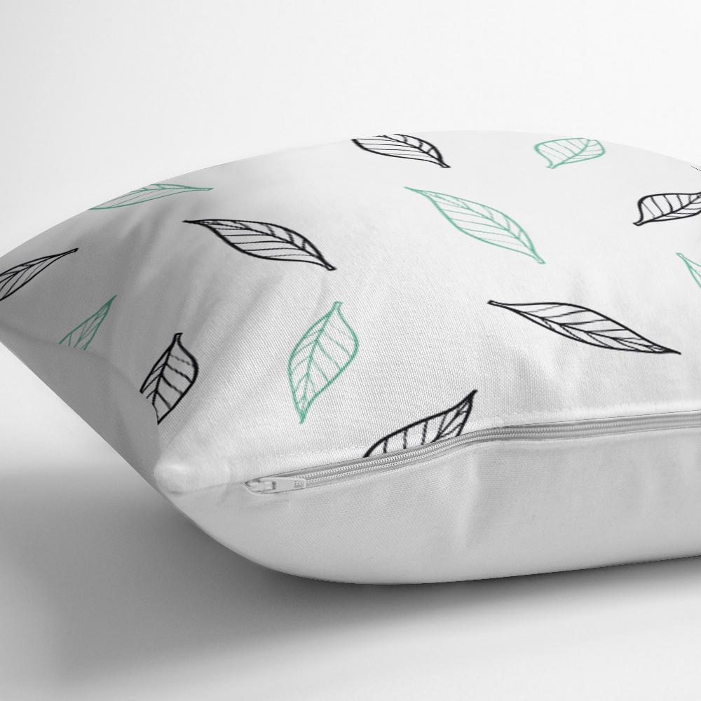 Beyaz Temalı Yaprak Desenli Dijital Baskılı Modern Yastık Kılıfı Realhomes