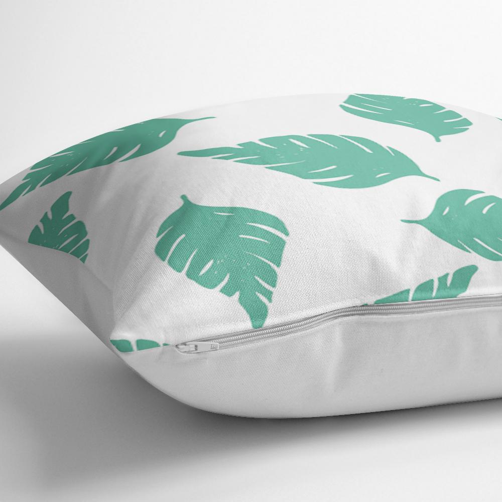 Beyaz Temalı Mint Yeşili Yaprak Motifli Dekoratif Yastık Kılıfı Realhomes