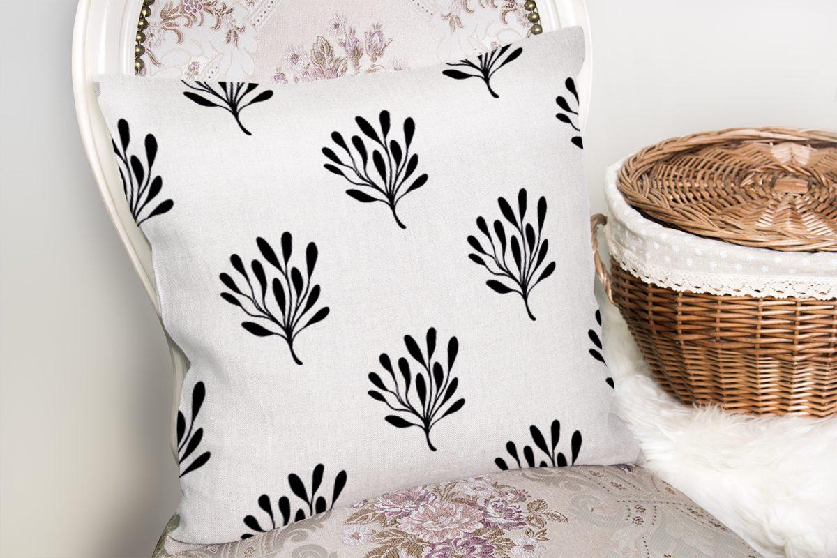 Siyah Beyaz Yaprak Motifli Dekoratif Yastık Kırlent Kılıfı Realhomes