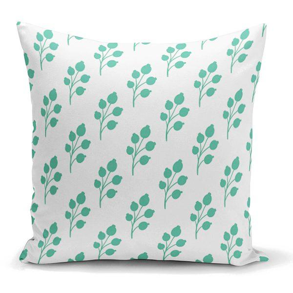 Beyaz Mint Yeşili Yaprak Motifli Dekoratif Yastık Kırlent Kılıfı Realhomes