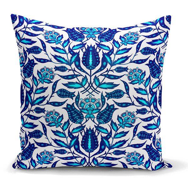 Mavi Cam Göbeği Etnik Desenli Dekoratif Yastık Kırlent Kılıfı Realhomes