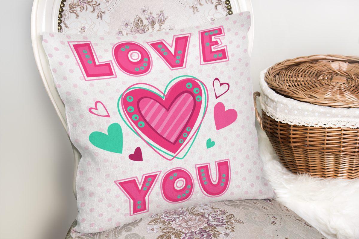 Puanlı Love You Baskıılı Dijital Baskılı Kırlent Kılıfı Realhomes