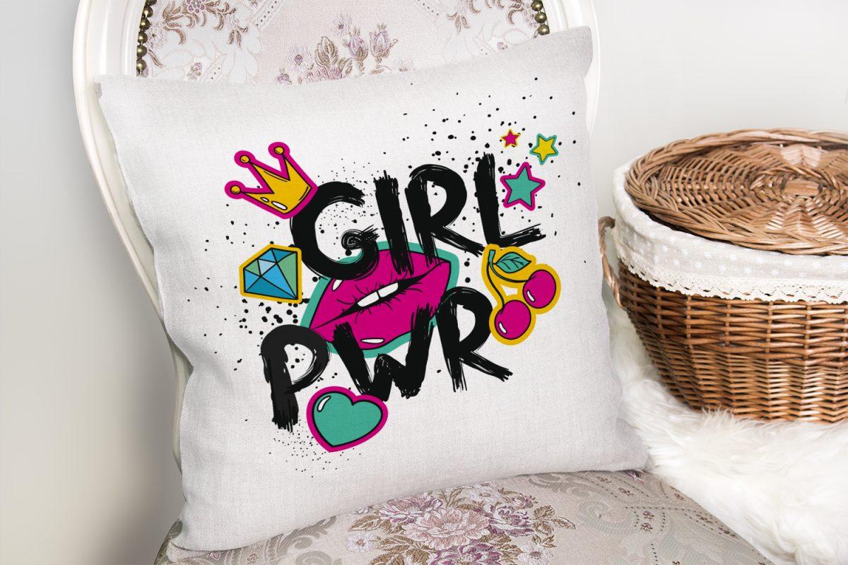 Dudak Baskılı Girl Power Dijital Baskılı Yastık Kırlent Kılıfı Realhomes