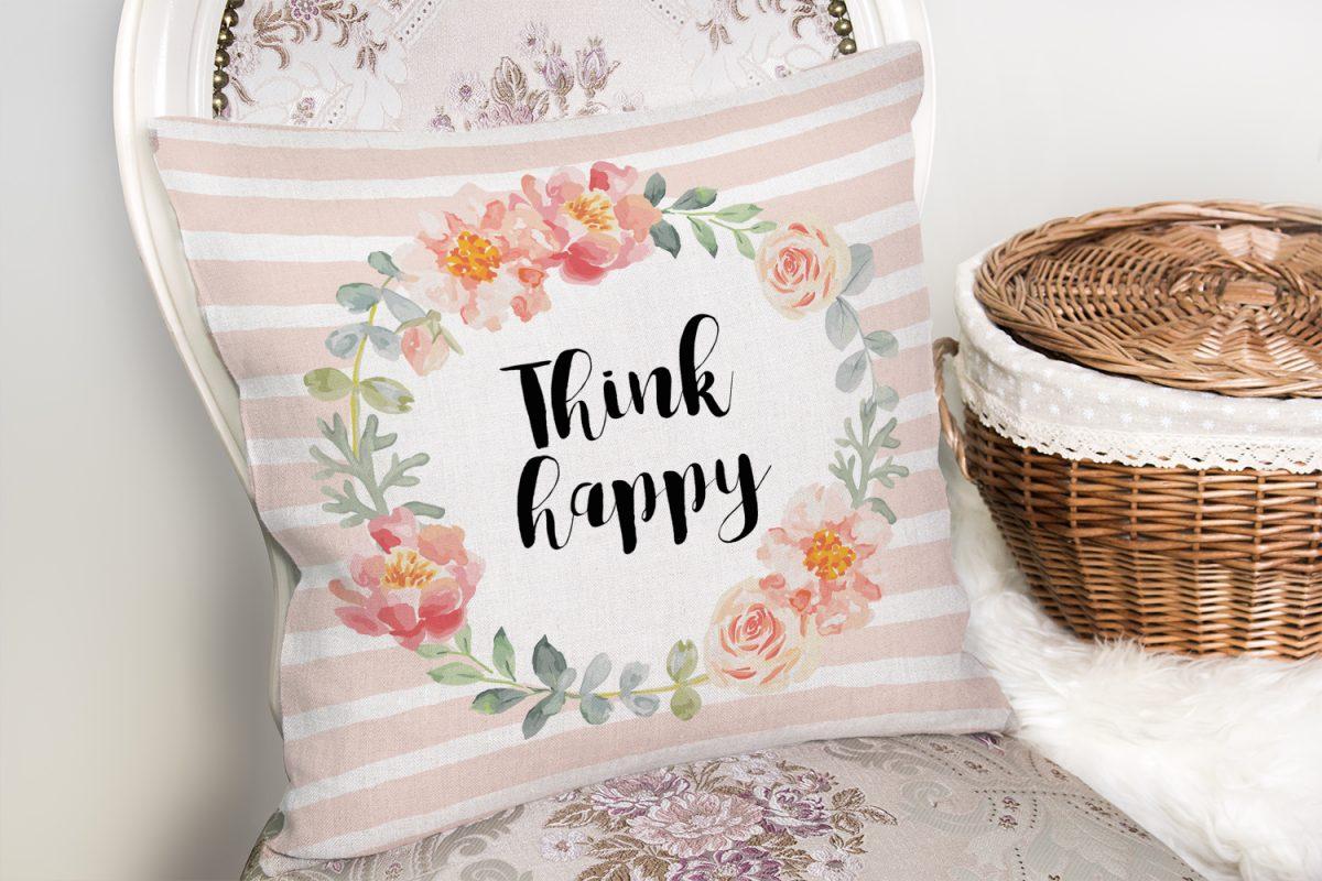 Çiçek Motifli Think Happy Baskılı Yastık Kırlent Kılıfı Realhomes