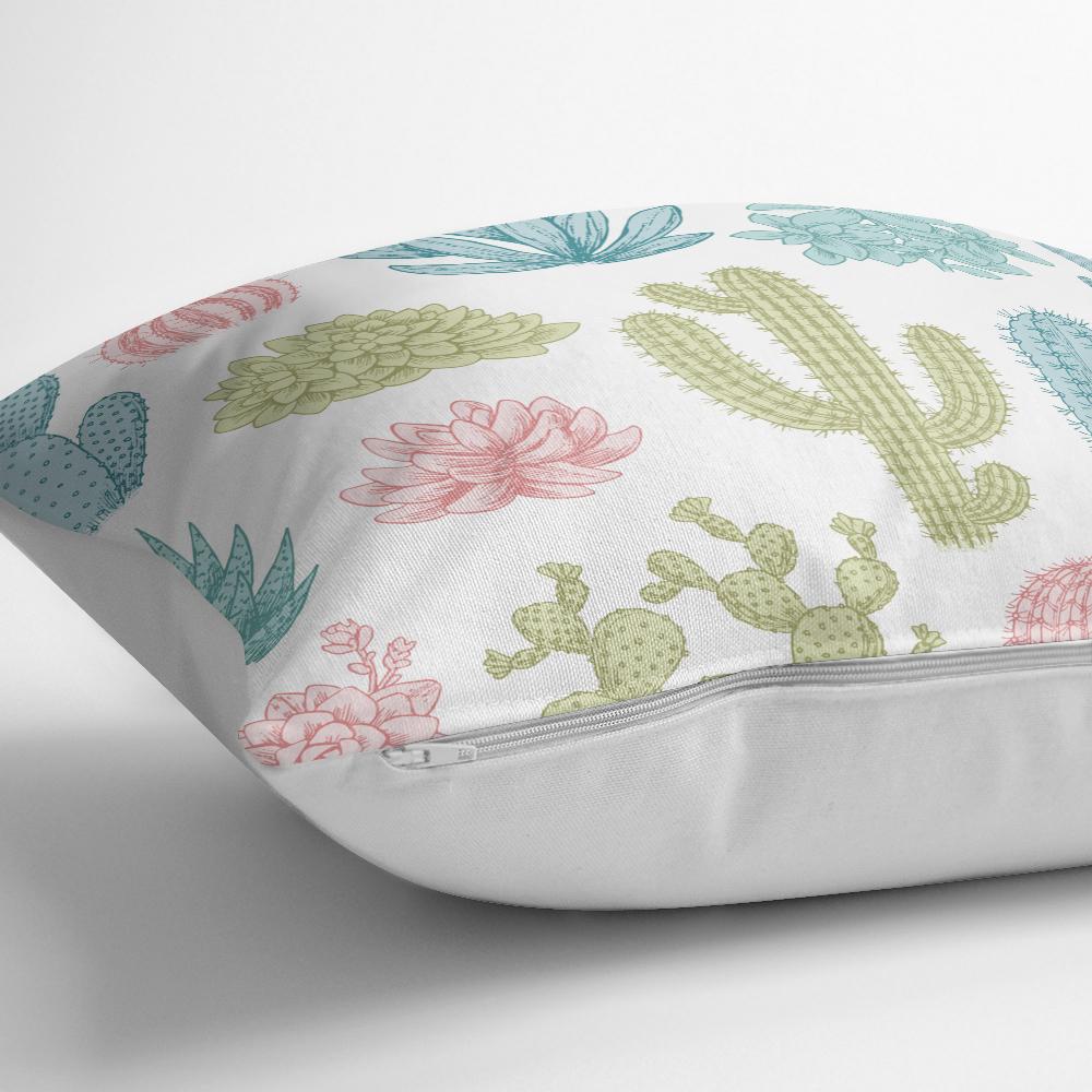 Kaktüs Desenli Renkli Modern Yastık Kırlent Kılıfı Realhomes