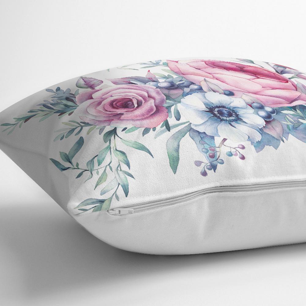 Livense Özel Tasarım Çiçek Desenli Dijital Baskılı Kırlent Kılıfı Realhomes