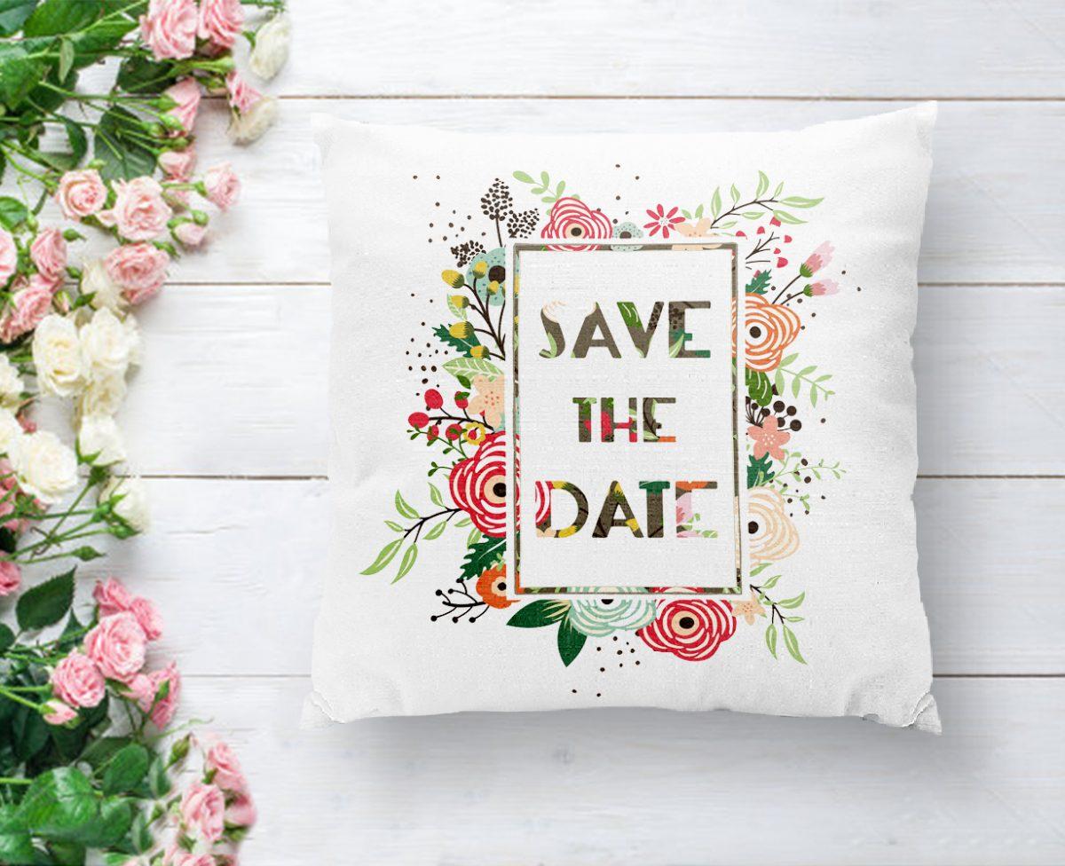 Save The Date Çiçek Desenli Dijital Baskılı Dekoratif Yastık Kılıfı Realhomes