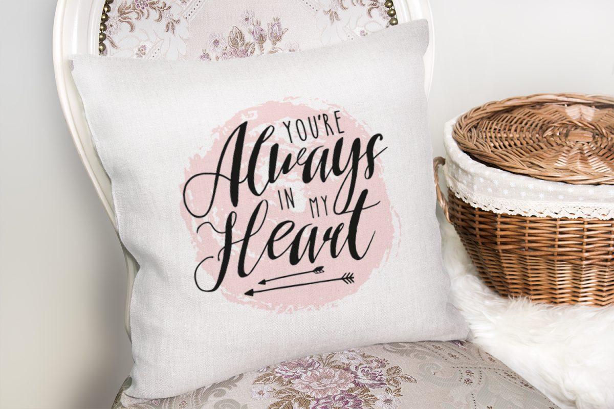 Always Heart Yazı Desenli Dijital Baskılı Dekoratif Yastık Kırlent Kılıfı Realhomes
