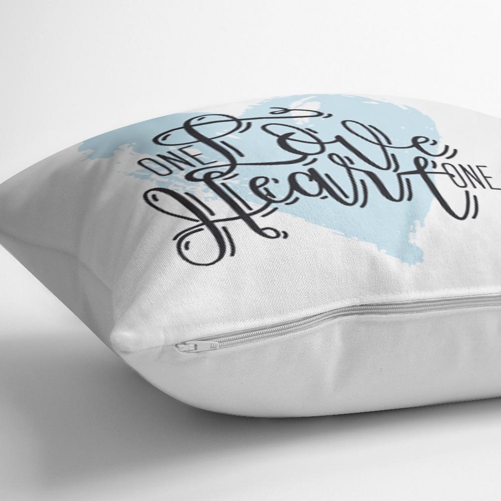 Love Heart Yazı Desenli Dijital Baskılı Modern Yastık Kırlent Kılıfı Realhomes