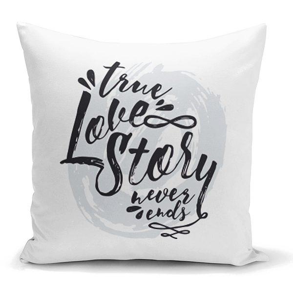 Love Story Yazı Desenli Dijital Baskılı Dekoratif Yastık Kılıfı Realhomes