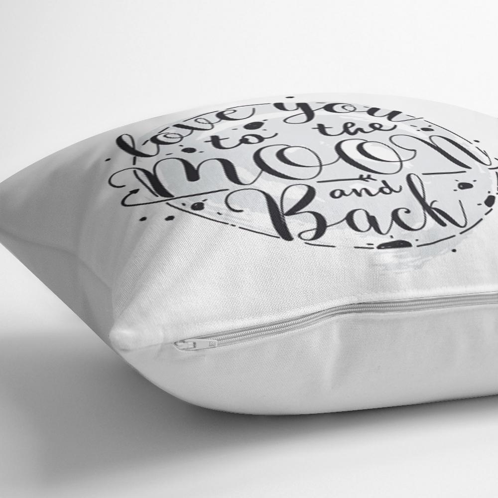 Özel Tasarım Yazı Desenli Dijital Baskılı Dekoratif Yastık Kırlent Kılıfı Realhomes