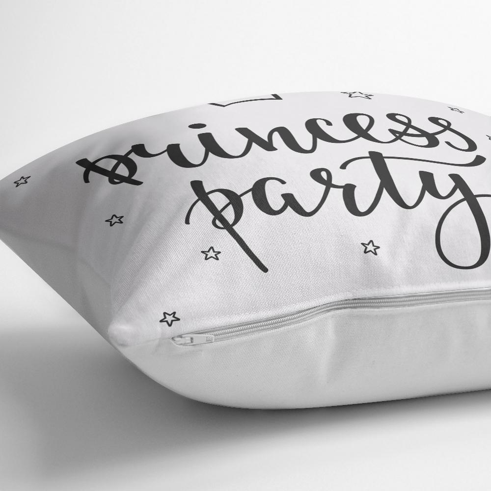 Prıncess Party Yazı Desenli Dijital Baskılı Dekoratif Yastık Kılıfı Realhomes