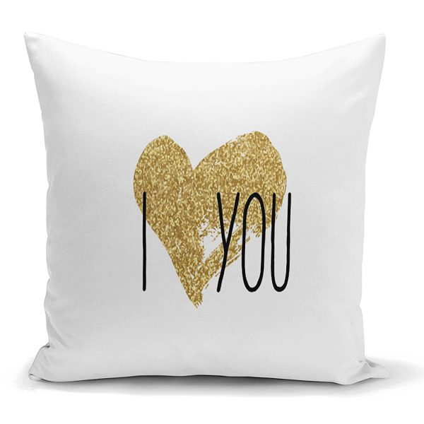 I Love You Aşk Temalı Dijital Baskılı Modern Kırlent Kılıfı Realhomes