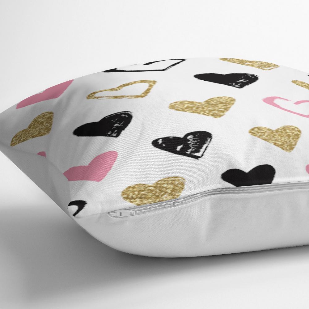 Renkli Kalp Desenli Dijital Baskılı Dekoratif Yastık Kılıfı Realhomes