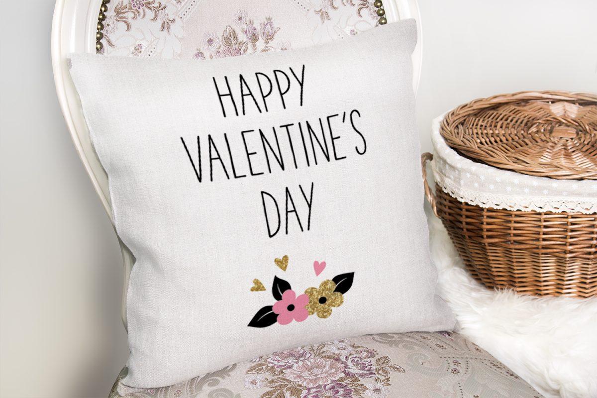 Happy Valentınes Day Yazılı Dijital Baskılı Kırlent Kılıfı Realhomes