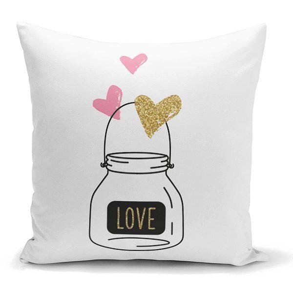 Love Kalp Desenli Dijital Baskılı Dekoratif Yastık Kılıfı Realhomes