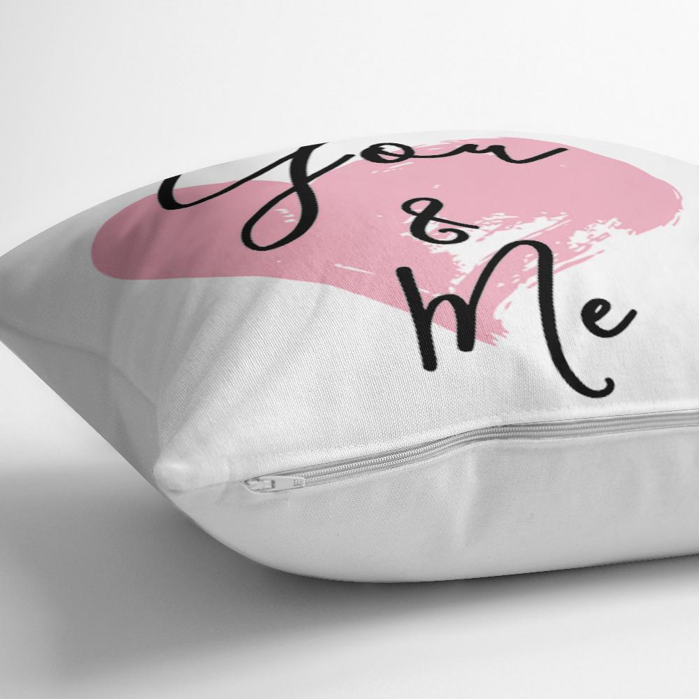 You & Me Kalp Yazılı Dijital Baskılı Dekoratif Yastık Kırlent Kılıfı Realhomes