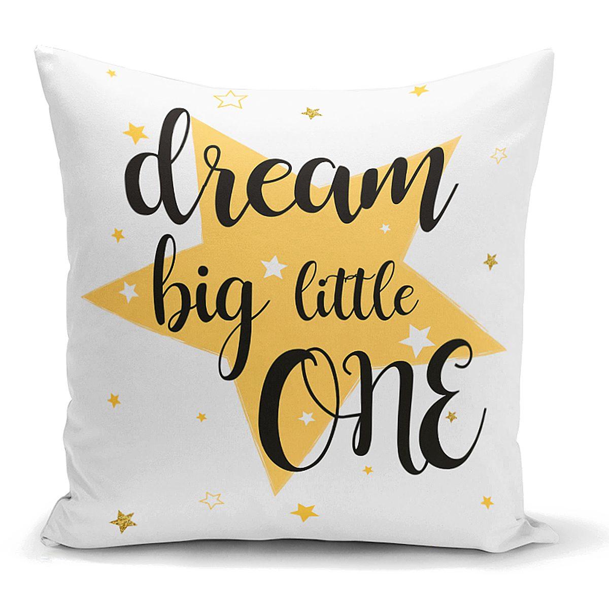 Dream Big Little One Yazılı Yıdız Desenli Dijital Baskılı Kırlent Kılıfı Realhomes